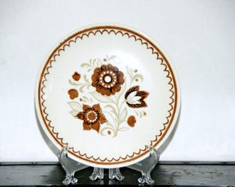 Royal China Nutmeg, Set of 2 Salad Plates,  6.5 Inch, Brown Floral, Decorated Rim, Made in USA, Sebring Ohio, 1960s - 1970s, Vintage, Kitsch
