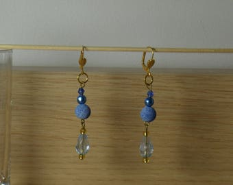 Shades of blue and gold color earrings