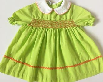 Vintage Lime Green Orange Smocked Dress Girls Sz 12-18 months