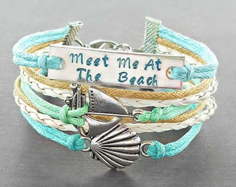 Shell Jewelry, Seashell Bracelet, Hand Stamped Bracelet, Sail Boat Jewelry, Beachy Jewelry, Message Bracelet, Sailing Jewelry, Beach Gifts