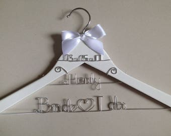Personalized Wedding Hanger with Date,bridesmaid Hanger,name hanger,bride hanger,bridal party gifts,custom 3 line hanger,Mother hanger
