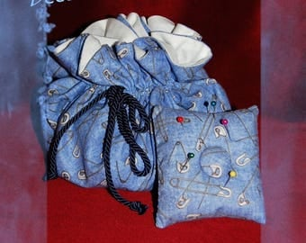 Sewing set: pouch and stick pin with cushion