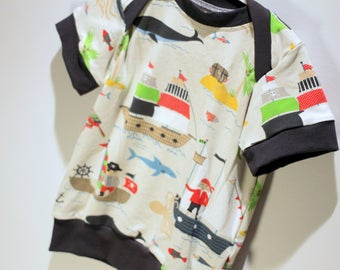 Sweater - 12 months - PIRATES & grey - short sleeve