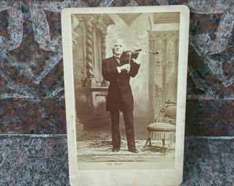 Antique Victorian cabinet card of violinist Ole Bull