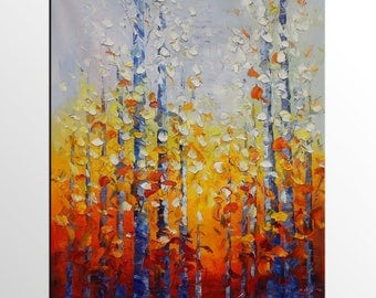 Canvas Painting, Abstract Art, Large Wall Art, Original Oil Painting, Wall Art, Large Painting, Autumn Tree Painting, Landscape painting