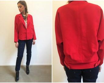 Anni 90 Giacca rossa doppiopetto, giacca doppopietto, giacca donna bomber rossa, giacca rossa anni 90, giacche donna