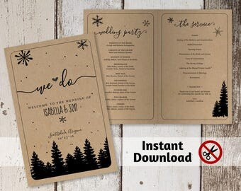 Printable Winter Wedding Program Template - Rustic Snow, Pine Trees, Kraft Paper - PDF Instant Download Digital File - DIY Ceremony Booklet
