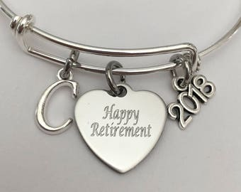 Happy Retirement-2018, 2017 bangle bracelet-retirement jewelry-retirement bracelet