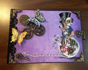 Alternative Steampunk Mini Album 7.5 x 5.5 Ten interactive pages Holds over 40 pictures Handmade DarlingArtByValeri Darling Mouse Hearts