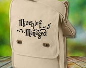 Harry Potter Canvas Field Bag - Mischief Managed Cotton Canvas Bag - Harry Potter Inspired Bag - Custom Bags Available