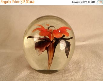 Summer Paperweight-Vintage Glass Paperweight-Orange and Purple Flower with Bubble Office Decor Paperweight