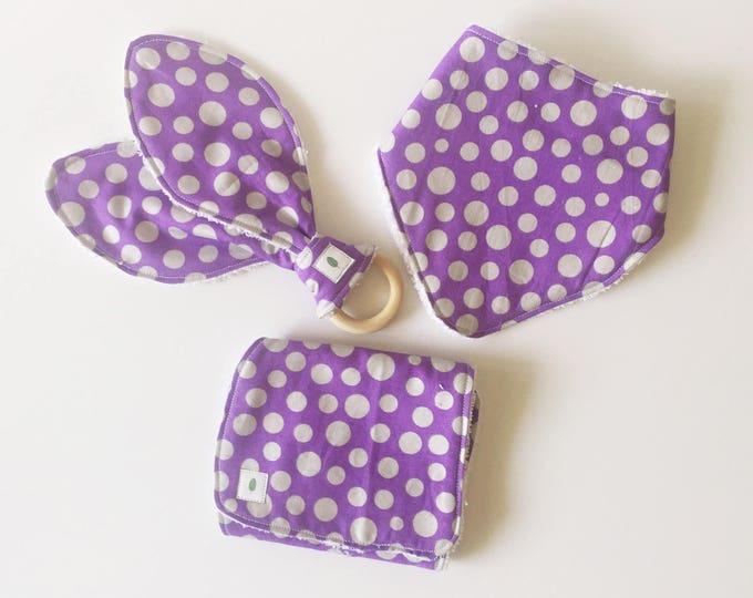 Purple Polka Dot Bandanna Bib, Teether and Burp Cloth Baby Gift Set - Wood Ring Teether - Bunny Ear Teether - Silver Dot Burp Cloth