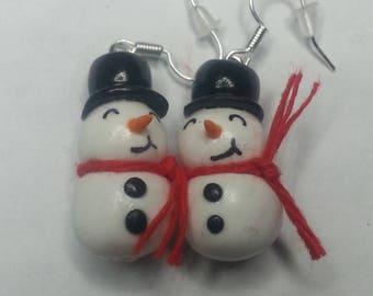 Snowman snow Christmas earring