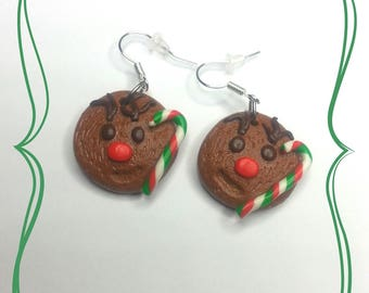Christmas reindeer and candy cane polymer clay earrings