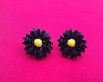 Large Black Flower Stud Earrings, Statement Jewellery, Alternative Fashion Jewelry, Black Flowers, Ladies Gift, Birthday Fashion, Chic Stud