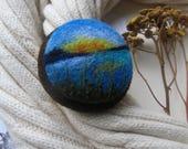 Needle felted brooch Miniature landscape Gift idea for her Round brooch Wool landscape pin Felt flower pin Colored brooch Meadow flowers