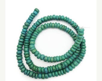 SALE 15% OFF Coconut beads round 5 mm 1 strand, 120 pieces, Pukalite, coconut slices, beads, coconut, slices, green, natural beads, tropical