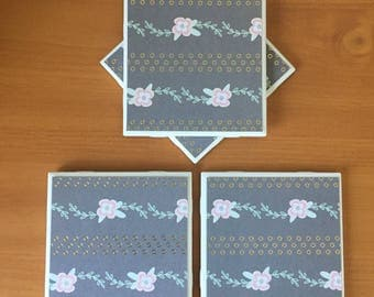 Gray Flower Coaster//Gold Foiled//Drink Coasters//Set of 4//Tile Coasters