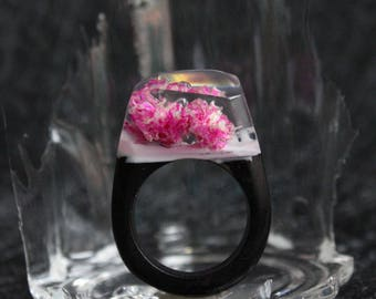 Wood Resin Ring With Cluster of Flowers, Unique Wedding Rings with Your Secret  R1701001