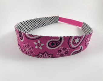 Hot Pink Paisley Handmade Fabric Headband, Adult Headband Woman, Womens Headband, Reversible Fabric Headband For Women,