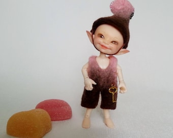 """Felted outfit """"Strawberry Brownie"""" for Realpuki - Realpuki clothes"""