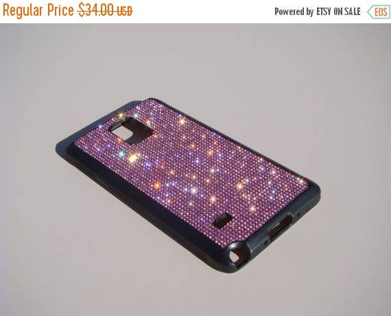 Sale Galaxy Note 4 Pink Diamond Rhinestone Crystals on Black Rubber Case. Velvet/Silk Pouch Bag Included, Genuine Rangsee Crystal Cases.