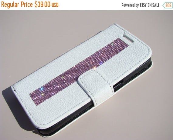 Sale Galaxy S7 Pink Diamond Crystals on White Wallet Case. Velvet/Silk Pouch bag Included, Genuine Rangsee Crystal Cases.