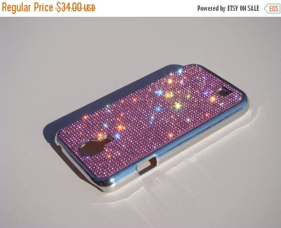 Sale Galaxy S4 Pink Diamond Rhinestone Crystals on Silver Chrome Case. Velvet/Silk Pouch Bag Included, Genuine Rangsee Crystal Cases.
