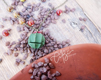Bronze Necklace 60 cm SUMMER 2017 with cacti echinocereus green in fimo. Gift for friend. Gift for her. Best birthday gift