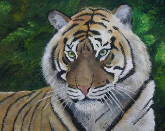 Bright Eyes, oil painting of a tiger