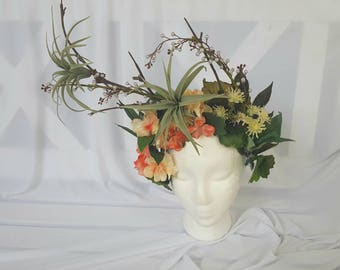 Asymmetrical Floral Statement Headpiece Fashion Crown Flower Goddess Headdress