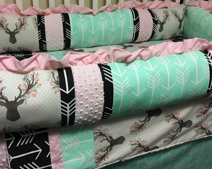 Deer and Arrows Custom Baby Bedding- Baby Girl Bedding with mint, pink and black