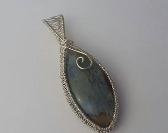 """Moss Agate Wire-wrapped Cabochon - """"Earth from Space"""""""
