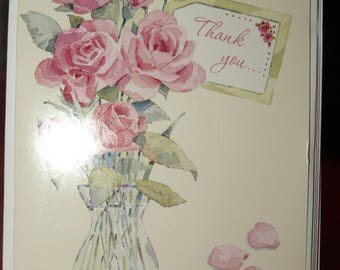 Pack of 5 A Vase of Roses Thank You Cards