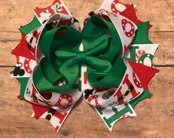 Ho Ho Ho - Christmas bow - Ho Ho Ho bow - Christmas hairbow - 1st Christmas Bow - Santa Hairbow - Holiday hairbow - Santa Bow - Holiday Bow