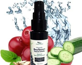 Organic Skin Lightening Serum  Organic Bearberry Dark Spot Serum   Age Spots Remover   Skin Lightening For Acne Scars Organic Arbutin