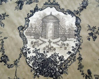 """Toile De Jouy Fabric BRAEMORE Garden 100% Cotton Screenprint BTY 56"""" Wide Upholstery Curtain Drapery Furniture Gift MW Vintage"""