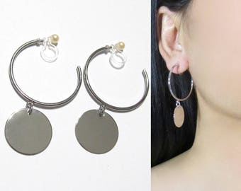 Silver Hoop Clip-On Earrings |36G| Circle Disc Coin Modern Dangle Clip on hoop Earrings, Invisible Non Pierced Geometric Clip-ons Earring