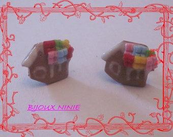 Fimo gingerbread house earrings