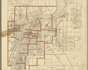 Poster, Many Sizes Available; Map Of Bay City Michigan 1896