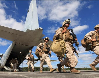 Poster, Many Sizes Available; Marines Deplane A Kc-130 Hercules At Fort Pickett, Virginia