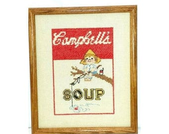 Vintage Campbells Soup Cross Stitch,Completed,Framed Campbells Soup Needlework,Campbells Kids,Campbells Soup Kids,Collectible,Campbells Soup