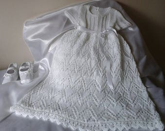 Beautiful Handknitted Christening Gown 0 - 6 months.