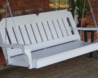 Brand New 5 Foot Painted Victorian Style White Porch Swing - with Hanging Chain or Rope - Free Shipping