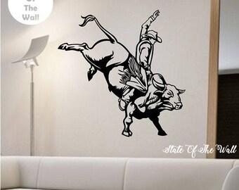 Bull Riding Wall Decal Sticker Art Decor Bedroom Design Mural Vinyl