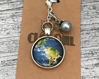 Silver-tone Earth Design Glass Cabochon Planner Charm / Key Fob