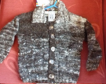 Hand knitted cardigan, knitted with home spun wool to fit a baby boy aged 6-12 months old