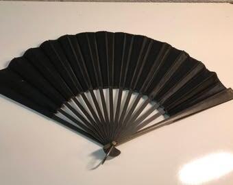 Black vintage fabric hand fan