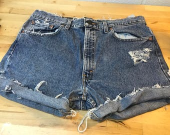 Distressed Levi's jean shorts size 38