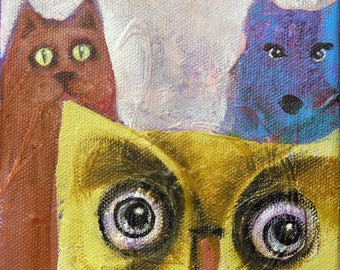 Whimsical art, whimsical animal art, original art, oil painting, owl art, colorful art, nursery art, kids room art, small painting, cat art